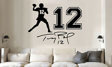 Tom Brady jersey number auto Vinyl Wall Decal/Words/Sticker 3pc set