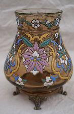 Bohemian Enameled Uranium Glass Footed Vase Bronze Joseph Riedel Polaun 1880