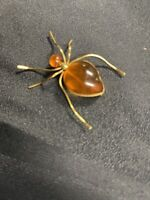 Vintage Yellow Gold  Amber Russian USSR Baltic Spider Insect Brooch Signed