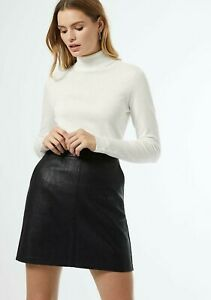Dorothy Perkins Black Faux Leather Mini Skirt Size 12 14 Side Pockets Silver Zip