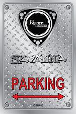 Metal Parking Sign  Rotary Mazda Style SAVANNA-SCRIPT #09 - Checkerplate Look