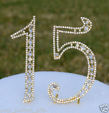 "5"" Rhinestone Gold Number Fifteen 15 Bling Cake Topper Birthday Anniversary"