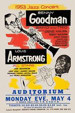 JAZZ: Louis Armstrong & Benny Goodman Poster Circa 1953 Large Format 24x36