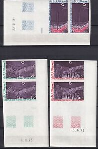 MAURITANIA 1973, Sc# C133-35, Blocks of 2, Imperf., with margins, MNH