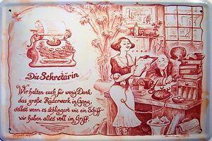 Beruf Sekretärin Blechschild Metallschild Schild gewölbt Tin Sign 20 x 30 cm