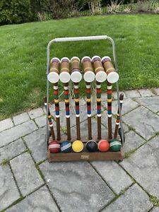 Nice Vintage Forster Skowhegan 6 Person Wood Croquet Set w/ Ribbed Wood Balls