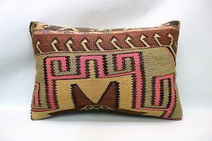 Kilim Boho Pillow, 16x24 inc, Decorative Ethnic Pillow, Handmade Vintage Pillow