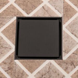 Square Matte Black 4 inch Bathroom Shower Waste Water Floor Drain Tile Insert