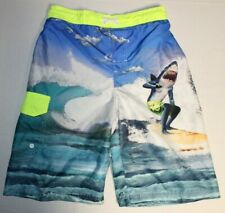 Boys Ocean Pacific Swimwear Swim Beach Shorts Trunks Large Blue Sharks Printed