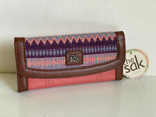 NEW! THE SAK IRIS GUAVA PATCH FLAP CONTINENTAL LEATHER CLUTCH WALLET $68 SALE