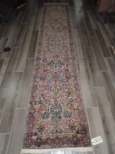 2.6x12ft. Antique Persian Laver Kirman Wool Runner