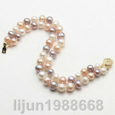 2 Rows 7-8mm Genuine multicolor Natural Freshwater Akoya Pearl Bracelet 7.5""