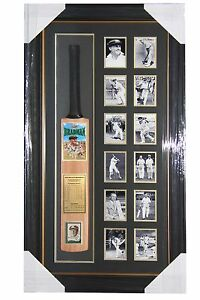 Sir Donald Bradman Bat with Personally Signed Weet Bix Card with Frame