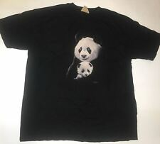 The Mountain Mama Panda Bear Cute Portrait Black Tie Die Cotton T-Shirt Adult XL
