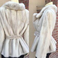 Luxurious Genuine Silver Gray Grey Mink Fur Short Jacket Stroller Coat Soft  M+
