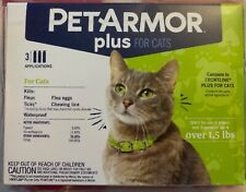 NEW PETARMOR PLUS FOR CATS 8 WEEKS & OLDER WEIGHING OVER 1.5 LBS 3 DOSES 3 MONTH