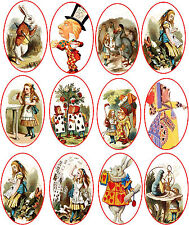 Vintage Alice in Wonderland 12 oval stickers scrapbooking crafts glossy