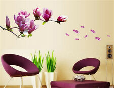 Magnolia Flowers Room Decor Removable Wall Stickers Decal Decoration Wandtattoo