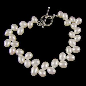 Belle Natural White Wheat Freshwater Pearl Bracelet (e3011bw)