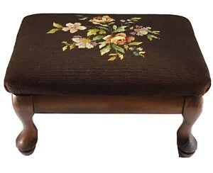 Vintage Brown Floral Needlepoint Footstool Mahogany Wood FootStool