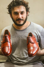 Handmade Men's Genuine Brown Leather Oxford Brogues Toe Cap Lace Up Formal Shoes
