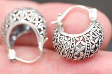 Handmade Sterling Silver .925 Huggie/Hoop Earrings w a Flower Design.