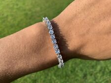 "Men's Iced Silver Plated  5mm Lab Diamond 1 Row Bracelet 7"""