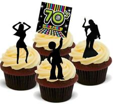 NOVELTY SEVENTIES PARTY MIX 'B' 12 STANDUPS Edible Cake Toppers 70s Disco Fever
