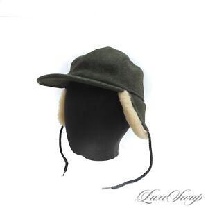 #1 MENSWEAR LNWOT Filson Made in USA Olive Tweed Shearling Fur Ear Flap Hat XL