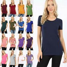 Women SCOOP NECK Short Sleeve Cotton T-shirt Soft Stretch Long Basic Tee GT-3007