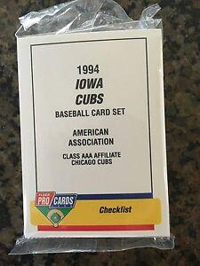 1994 Iowa Cubs Minor League Baseball Team Set Chicago Cubs