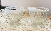 Vintage Fenton Art Glass French Opalescent Hobnail Creamer/ Sugar