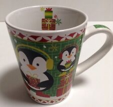 Classic Solutions Christmas Coffee Mug Holly Jolly Penguin White Green Red 15 oz