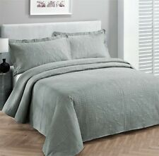 King size 3 pc Solid  Embossed bedspread Bed Cover New Over size Grey