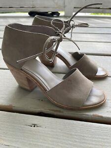 Eileen Fisher Women Size 7 Open Toe Block Heel Suede Shoe