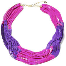 Amrita Singh Chelsea Large Multi Chain Purple Fuchsia Bib Necklace NKC 2030 NWT