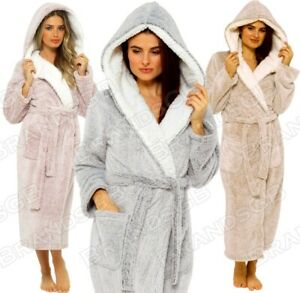 LADIES LUXURY DRESSING GOWN SHIMMER FLEECE SOFT & COSY HOODED ROBE **NEW**