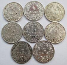 Kaiserreich Lot 8 x 1/2 Mark 1905 - 1917, Silber