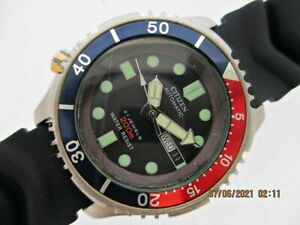 MODDED CITIZEN PROMASTER 200m LEFTY MENS GOLD SS 6n8727 DAY DATE EU SHP WATCH $1