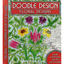 DOODLE DESIGN FLORAL DESIGNS ~ Adult & older children colouring book Gift