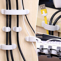 10x Cable Wire Cord Organizer Drop Clip Desk Tidy Holder Management Line Fixer,,