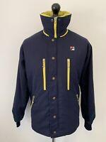 FILA Vintage Sports Retro USA Blue Yellow Padded Coat Jacket Removable Lining SM
