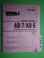 Teac ad-7 ad-5 service manual original repair book stereo cd player tape deck