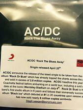 Ac/Dc 'Rock The Blues Away' Brand New Sony cd promo & sticker