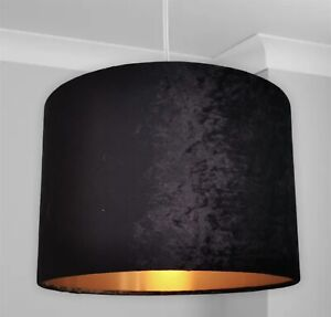 New HQ Luxury Crushed Velvet Lamp Shade Pendant With Copper Effect 30cm -black