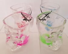 Set of 4 Skull Shot Glasses Clear Glass Color Bases and Crossed Swords