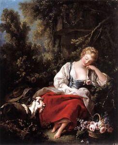 Handmade Oil Painting repro Francois Boucher Dreaming Shepherdess