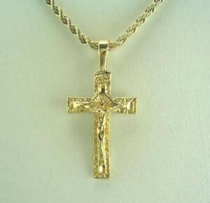 """18K Gold Plated Cross Pendant On 20"""" Rope Chain - LIFETIME WARRANTY"""