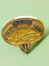 Dallas Railway Terminal Co. 10k Gold 31 Years Of Service Award Pin Vintage