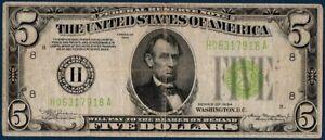 BILLET 5 DOLLARS FEDERAL USA ST LOUIS 1934